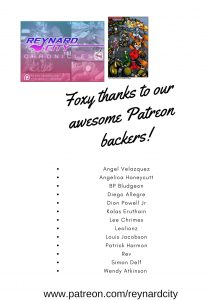 Special thanks to our Reynard City Patreon backers